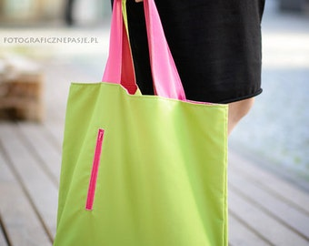 Double sided bag, two-sided tote bag, shopping waterproof bag,  double-faced pink green, packable bag on beach, tote bag, colourful bag