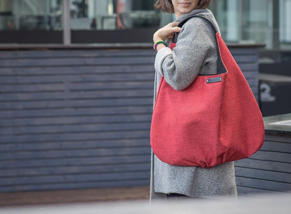 d7d77204384 Red hobo bag with leather black strap big hobo bag in red   Etsy