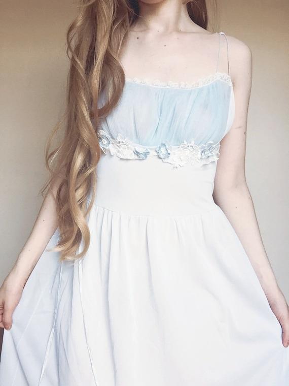Powder blue floral detail slip dress