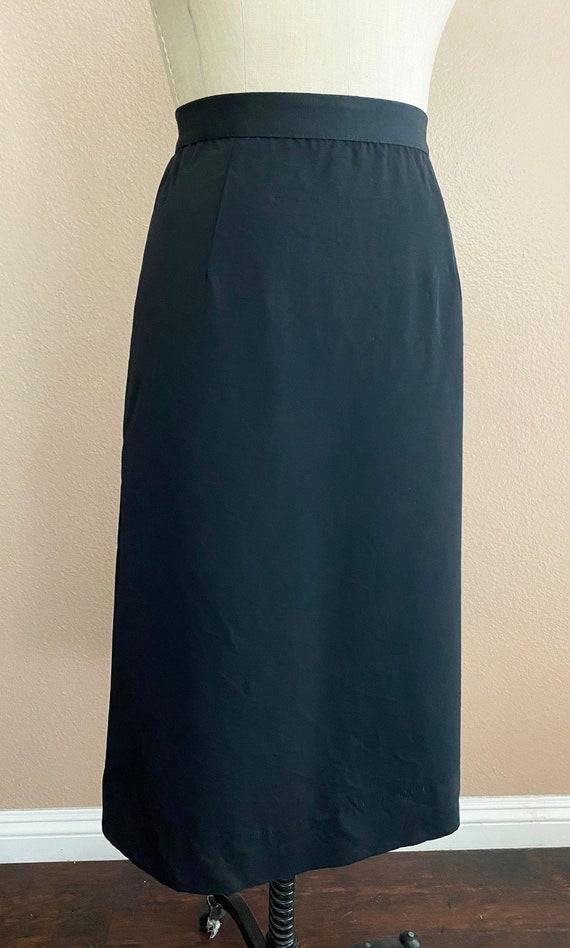 A3 - 1950s Handmade Black Rayon Faille A-line Skir