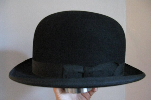 Vintage Bowler Hat Black Derby Hat Mans Derby Wool Hat  45731ad2873