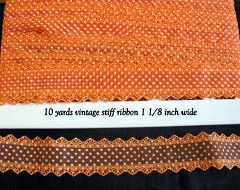 Halloween Ribbon Orange Lace Vintage Trim Stiff 10 yards