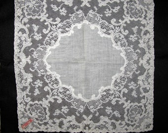 Vintage Lace Handkerchiefs Wedding Hankerchief, Antique Heirloom Bridal Gift Tag On Unused