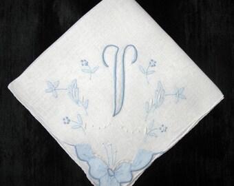 Handkerchief Wedding, Vintage Blue Initial Letter Monogrammed Hankie