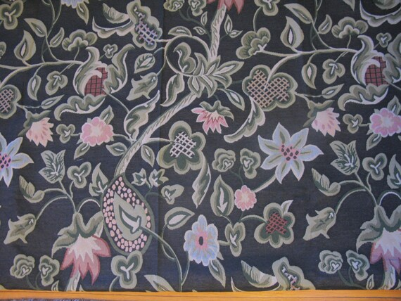 Upholstery Fabric Vintage Large Flower Fabric By The Yard Etsy