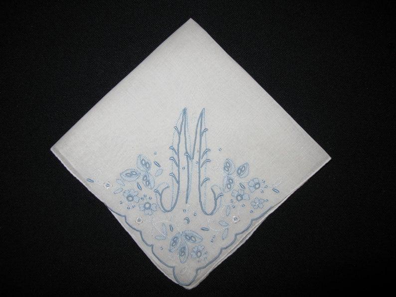 Handkerchief Wedding Vintage Blue Initial Letter Monogrammed initial M