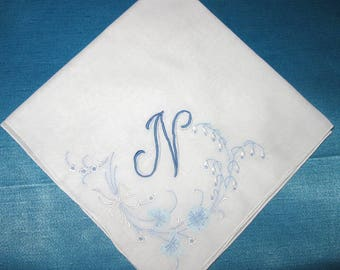 Hankie for Happy Tears Handkerchief Wedding Hankerchief initial N E B D S P H R A or L listing for one