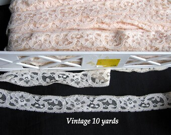 Stretch lace trim ivory, buy the yard, 1 inch wide, vintage cream beige ivory lace, trimming flat laces
