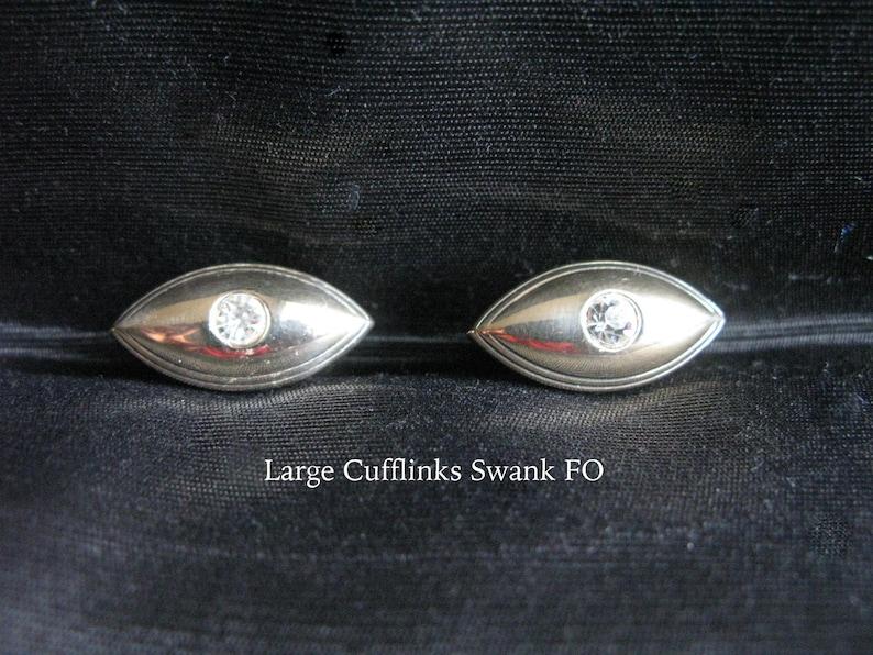 Large cufflinks Swank rare lozenge shaped cufflinks with rhinestone