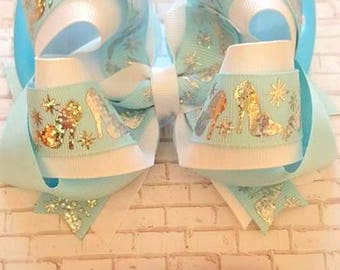 733777fce871 Glass Slipper Bow...Glass Slipper...Cinderella...Disney Inspired...Silver  Slipper...Blue and White bow..Cinderella Blue Bow