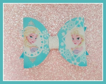Frozen Bow...Elsa Inspired Bow...Fabric Bow...Blue Bow...Ice Princess Bow...Bella Bow