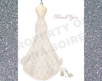 c08b0d408886f LACE WEDDING SHOE Thank You Card Personalized with Name | Etsy