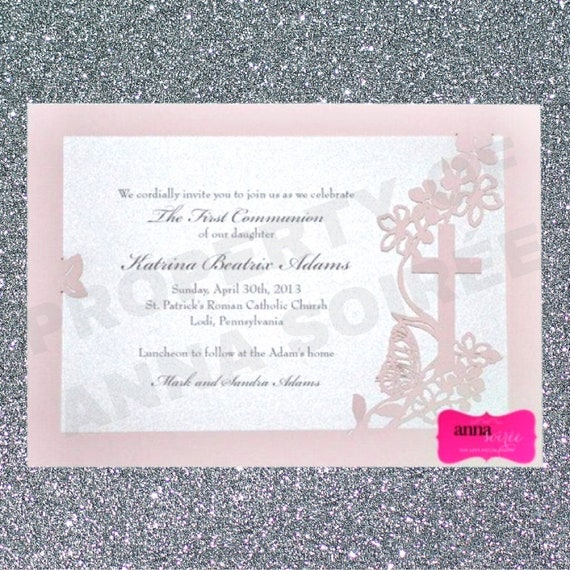 Invitations Communion Or Christening Laser Cut With Shimmer Paper Customize Font And Wording