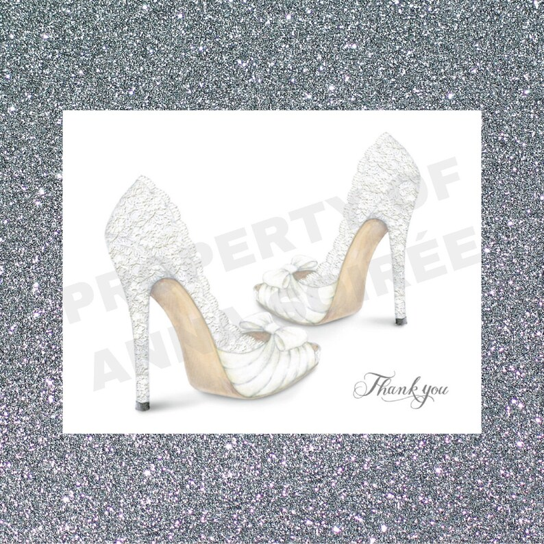 0a15a0601a24c LACE WEDDING SHOE Thank You Card - Personalized with Name, Thank you or  just the design! Couple's Shower, Wedding, Engagement