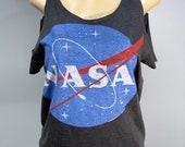 NASA Gray Cold Shoulder Shirt Cut Up by Sniptease Size XL XXL