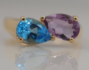 Vintage Amethyst Blue Topaz Pear Shape Bypass Ring 14k Yellow Gold Purple February December Two Stone Best Friend