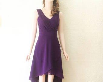 Purple Chiffon Knee Length Dress