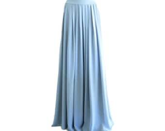 833e0e4cbafb Dusty Blue Maxi Skirt. Dusty Blue Bridesmaid Skirt. Long Evening Skirt.  Chiffon Floor Length Skirt.