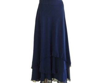 Long Evening Skirt Navy Blue Bridesmaid Skirt Chiffon Floor Length Skirt. Navy Blue Maxi Skirt