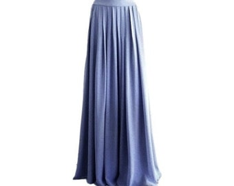 b95fbd865 Dark Steel Blue Maxi Skirt. Dark Steel Blue Bridesmaid Skirt. Long Evening  Skirt. Chiffon Floor Length Skirt.