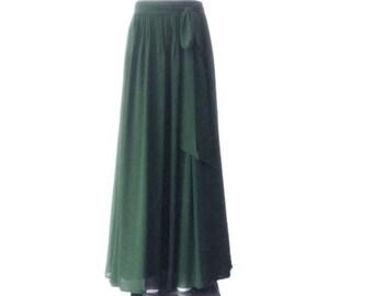 e5d4a2deffe Forest Green Maxi Skirt. Forest Green Bridesmaid Skirt. Long Evening Skirt.  Chiffon Floor Length Skirt.