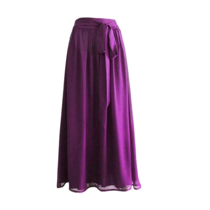 Long Evening Chiffon Skirt Floor length Skirt. Purple Maxi Skirt Purple Bridesmaid Skirt