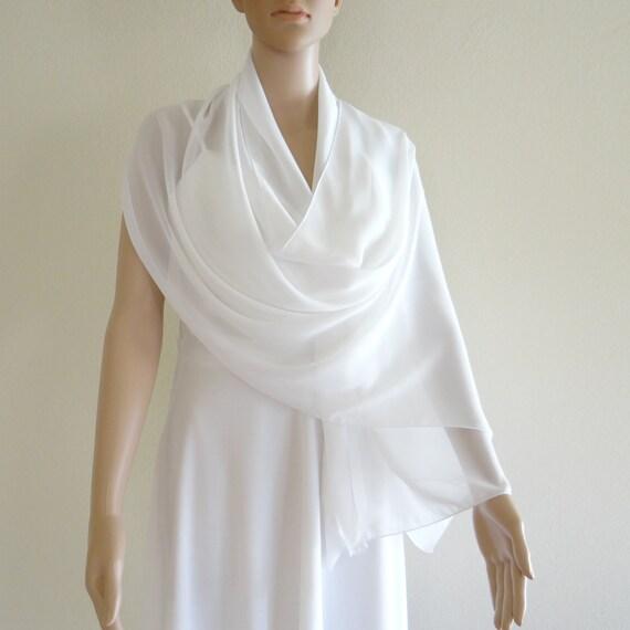 f975d50dd2c7 Longue écharpe blanche. Foulard blanc brillant. Foulard en   Etsy