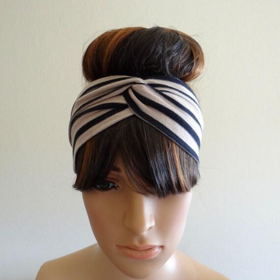 Tan et noir rayé tête bandeau Wrap.Striped