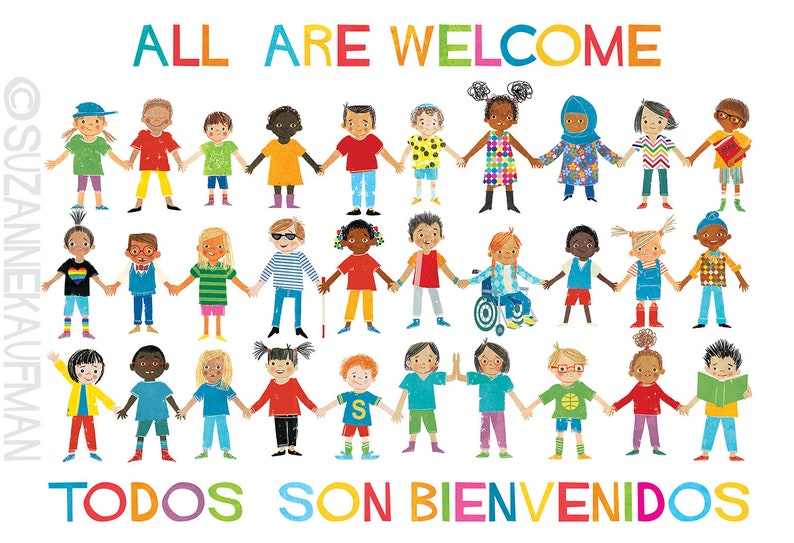 All Are Welcome English and Spanish Art Poster