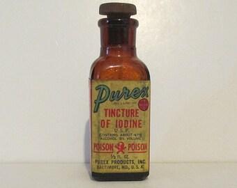 Vintage Purex Tincture of Iodine Bottle Skull & Crossbones plus Poison on the label