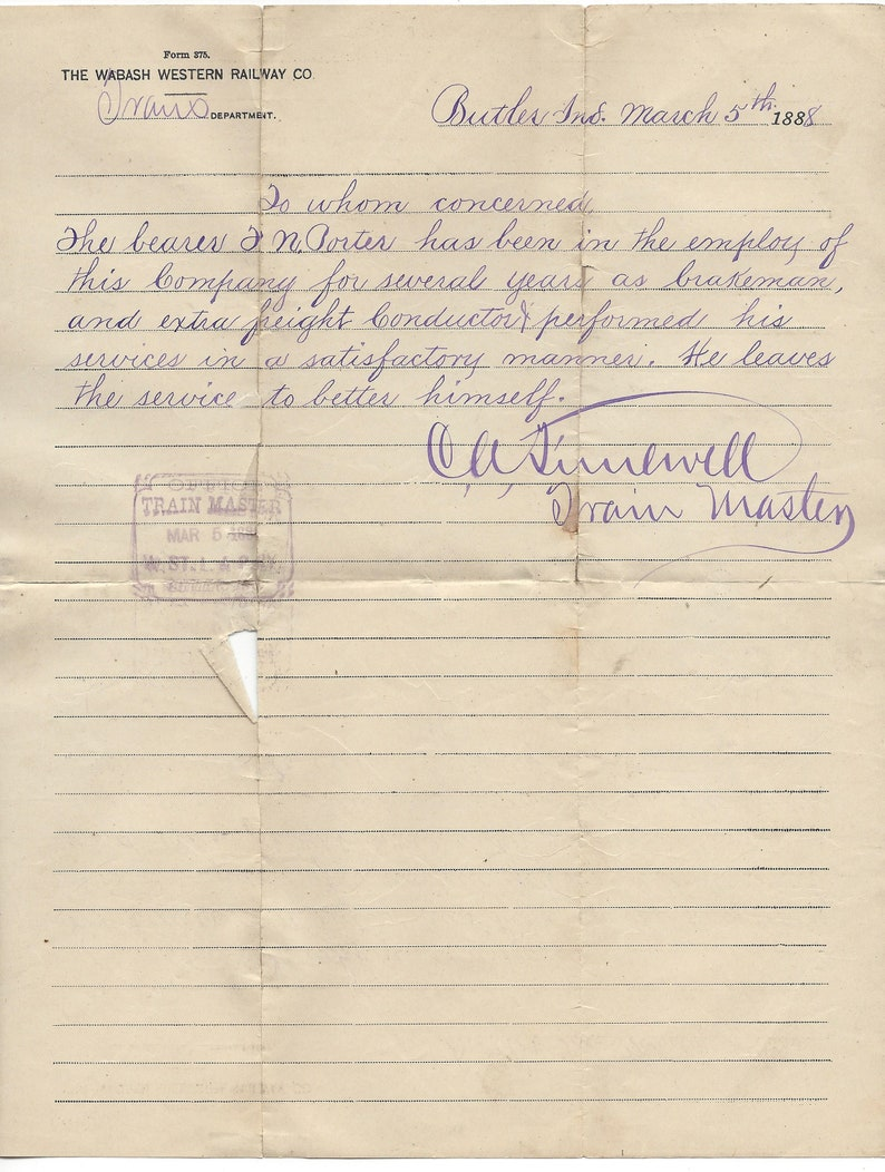 Antique 1888 Wabash Western Railway Co  Butler, Indiana Employee  Recommendation Letter