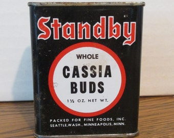 Vintage Standby Brand Cassia Buds Tin