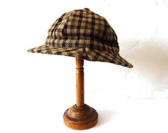 Vintage Scottish Brown Wool Houndstooth Rain Hat ec3848901bc