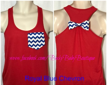 Independence Day, Patriotic 4th of July American Pride Racerback Tank Top with Pocket & Bow - Flowy and Flattering Sizes XS-4XL