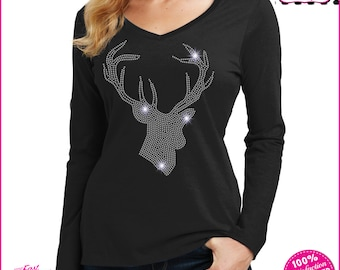 7aae80a85e Deer Spangle Bling Kids or Womens Holographic T-shirt-Available in Mommy  and me Sizes- womens plus sizes available