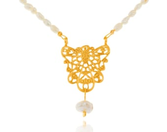 byzantine lace pendant with pearl necklace, boho necklace, sterling silver gold plated pendant, hand made jewelry, fresh water pearls
