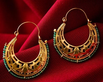 byzantine earrings, ethnic silver hoops, gypsy silver hoops, tribal earrings, boho silver earrings, hand made, statement earrings