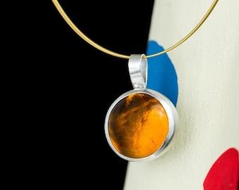 amber pendant, statement pendant, boho pendant, silver pendant, cabochon, hand made, glass pendant, honey pendant, citrine pendant,