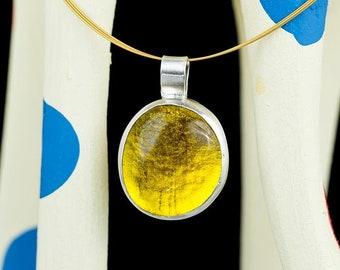 topaz yellow silver pendant, citrine yellow, lemon yellow, cabochon pendant, hand made bezel set, boho silver pendant, statement pendant,