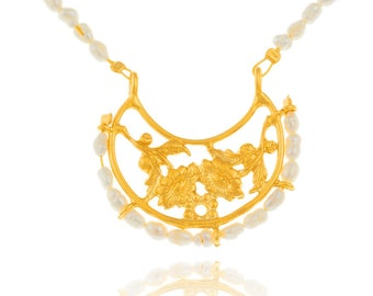 byzantine pendant with pearl necklace, ethnic silver pendant, gypsy pendant, boho pendant, statement pendant, vintage floral pendant
