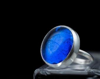 blue ring, Cobalt blue ring, big blue ring, navy blue ring, royal blue ring, something blue for bride, adjustable ring, boho ring