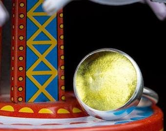topaz yellow silver ring, citrine yellow, lemon yellow, cabochon bezel set, hand made bezel set, silver ring, statement ring, glass ring