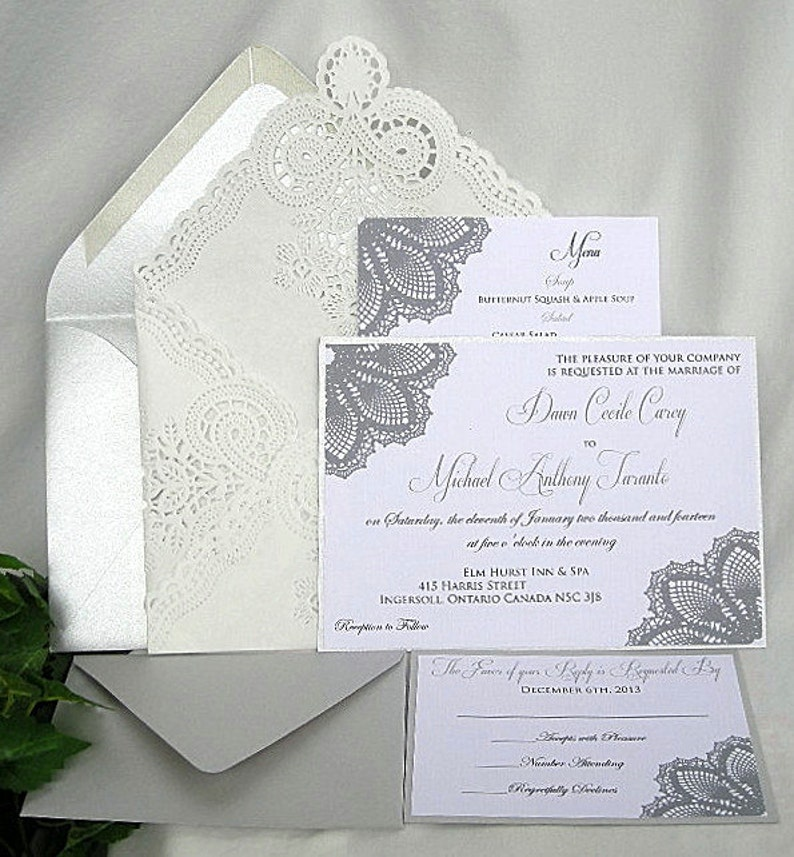 Silver Metallic n White Linen Wedding Invitation w Doily Lace Metallic Silver Shabby Chic Sample Any Color Customizable