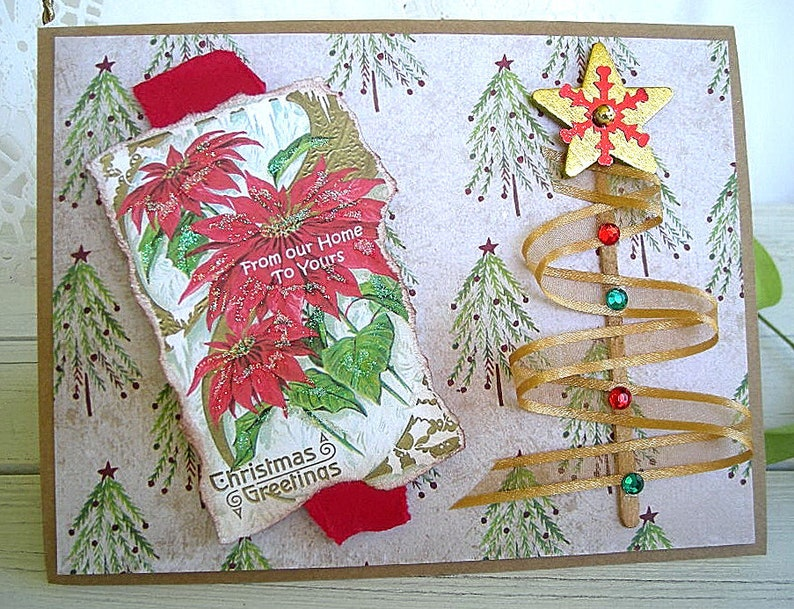 Handmade Christmas Cards Rustic Vintage Shabby Chic Holiday Etsy
