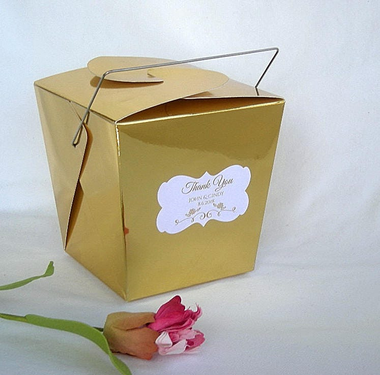 Chinese Wedding Gift Money Amount: Gold Wedding Favor Boxes Chinese Take Out Favor Box