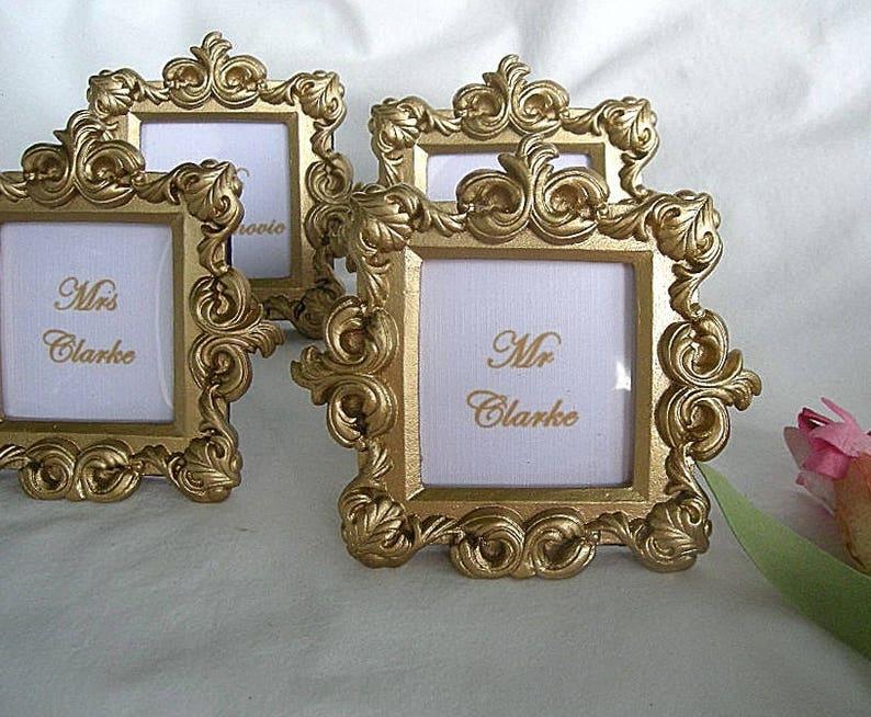 Wedding Place Card Holder Small Gold Frame Royale Square Baroque Elegant Photo Frame Shower Place Card Holder Decorations