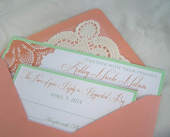 Wedding Invitation Coral Peach And Mint Green Handmade Vintage Rustic Wedding Card With Doily Lace Envelope Shabby Chic Custom Any Color