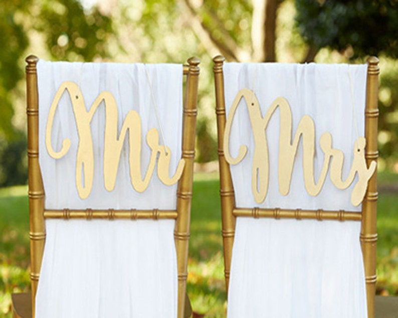 Mr and Mrs Chair Sign Bride and Groom Chair Signs Gold Wood image 0