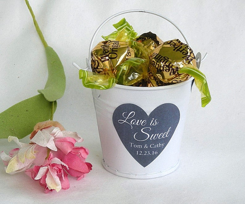White Mini Bucket Favor Tin Pail Favors Love Is Sweet Wedding Etsy