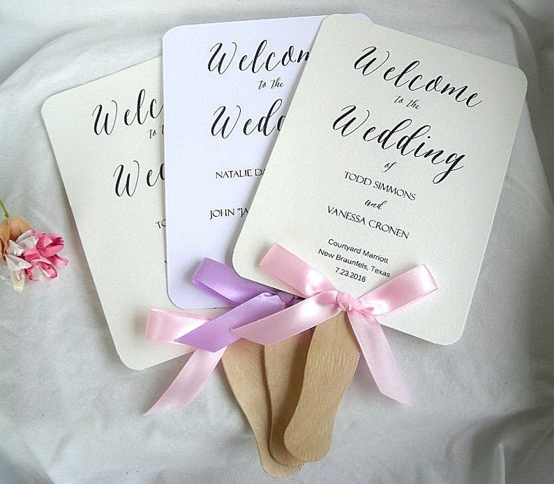 Blush Pink Purple Ivory Rustic Ceremony Wedding Program Fan Paddle Custom Personalized Any Color